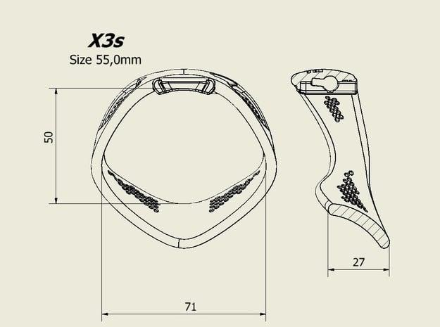 X3S Ring 55mm  in Black PA12