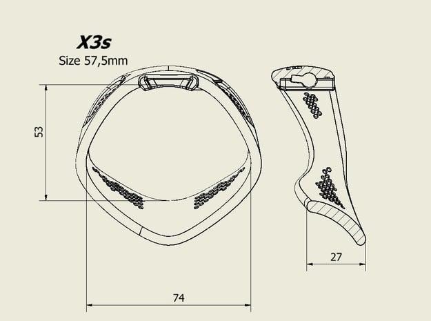X3S Ring 57,5mm  in Black PA12