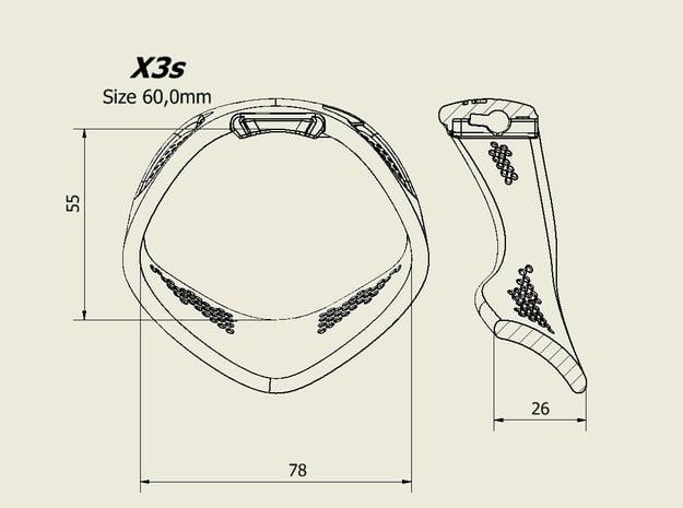 X3S Ring 60mm  in Black PA12