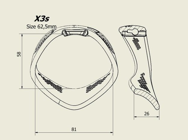 X3S Ring 62,5mm  in Black PA12
