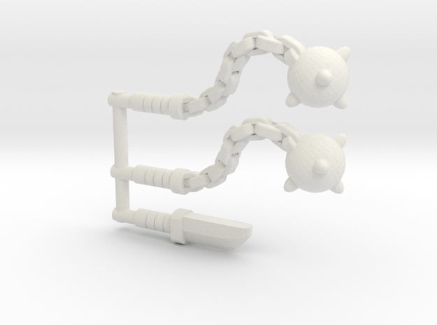 Flail Pack (3mm) in White Natural Versatile Plastic
