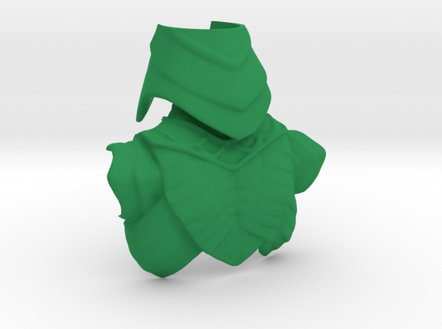 King Hssss Snake form Back Armor & Helmet (Joined) in Green Processed Versatile Plastic