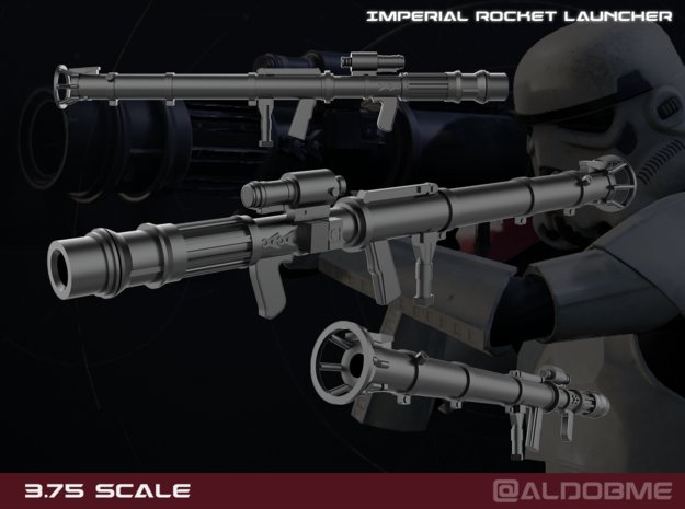 Imperial Rocket Launcher 3.75 scale in Smooth Fine Detail Plastic