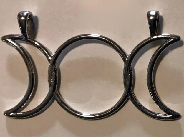 Triple Moon Pendant in Rhodium Plated Brass