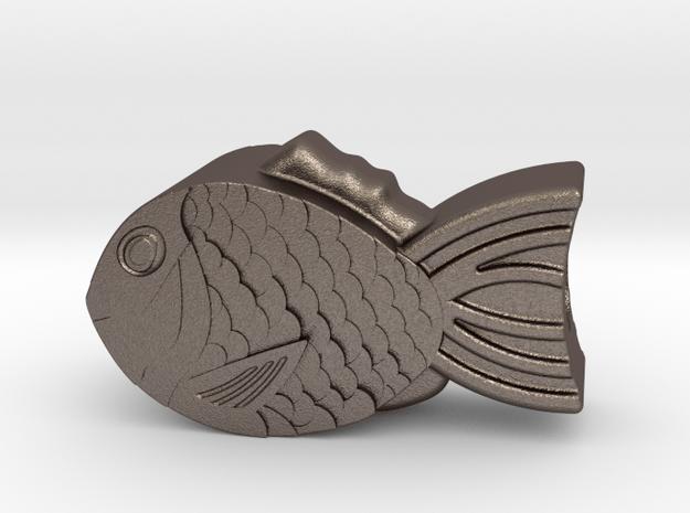 Taiyaki : Begleri Bead  in Polished Bronzed-Silver Steel