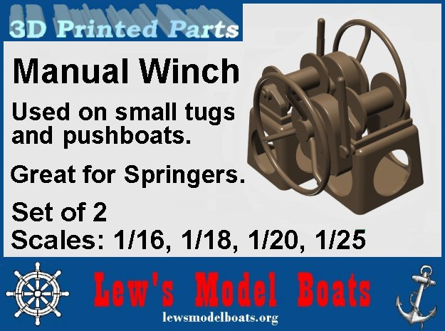 Springer-1-Winch-1@16-SW-X2 in White Natural Versatile Plastic: 1:16