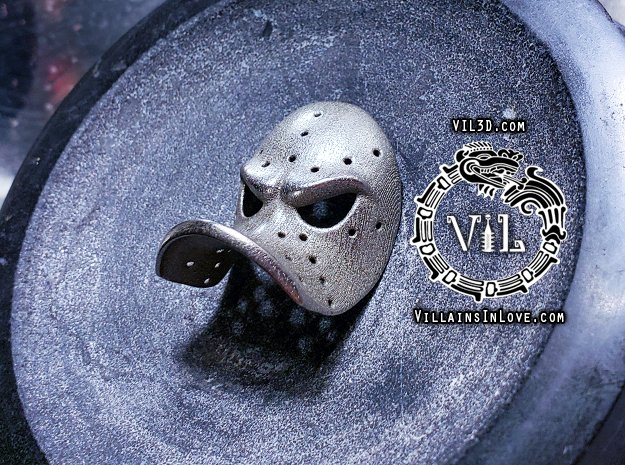 MIGHTY DUCKS Mask Pendant ⛧VIL⛧ in Polished Bronzed-Silver Steel