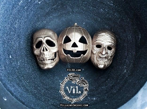 Halloween 3 TRIO Pendant ⛧VIL⛧ in Polished Bronzed-Silver Steel