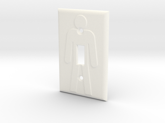 On/Off Light Switch Plate in White Processed Versatile Plastic
