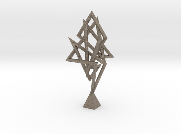 Flame Knot Sculpture in Matte Bronzed-Silver Steel