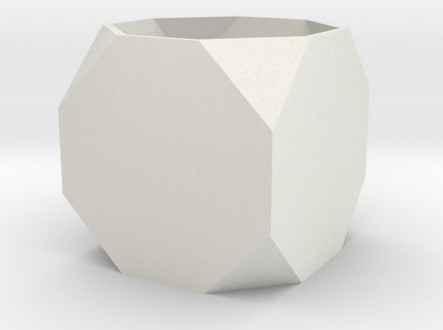 Truncated Cube in White Natural Versatile Plastic
