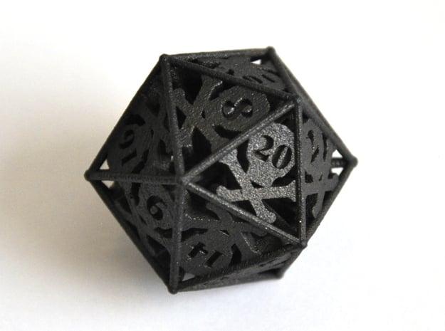 D20 Balanced - Skull and Bones in Matte Black Steel