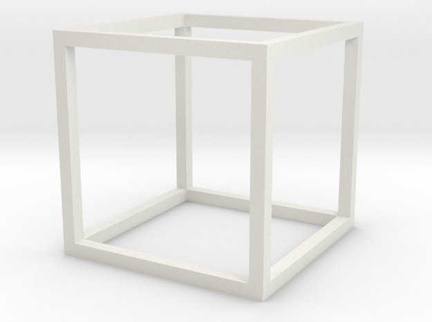 Cube open in White Natural Versatile Plastic
