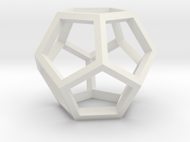 Dodecahedron open in White Natural Versatile Plastic