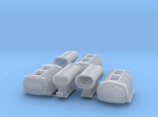 6-71 1/24 Hampton Blower w/Hilborne Injector x3 in Smooth Fine Detail Plastic