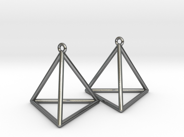 Tetrahedron Earrings in Polished Silver