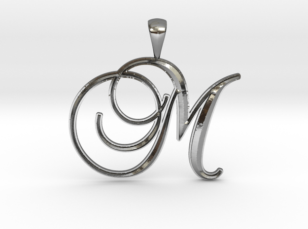 M in Fine Detail Polished Silver
