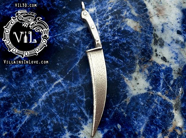 Halloween POSTER BLADE Pendant ⛧ VIL ⛧ in Polished Bronzed-Silver Steel