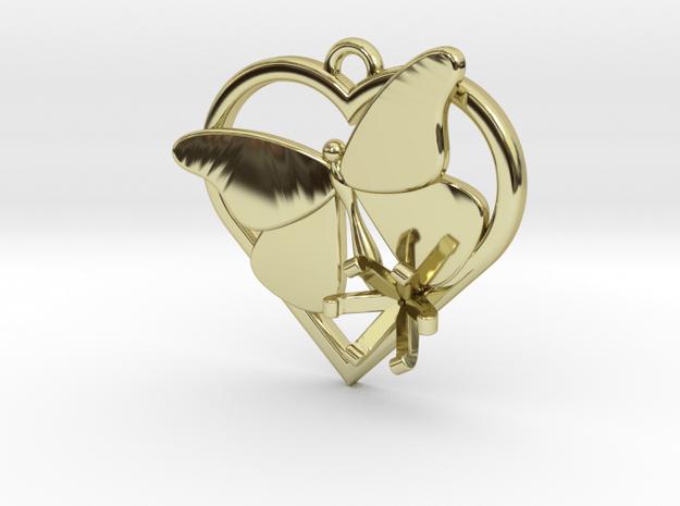 Heart Butterfly (Offset 6mm) in 18k Gold