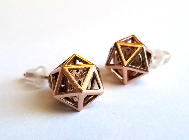 Geometric Spinning Earrings, Pair in Natural Bronze (Interlocking Parts)