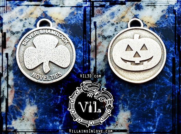 SILVER SHAMROCK Pendant ⛧ VIL ⛧ in Polished Bronzed-Silver Steel