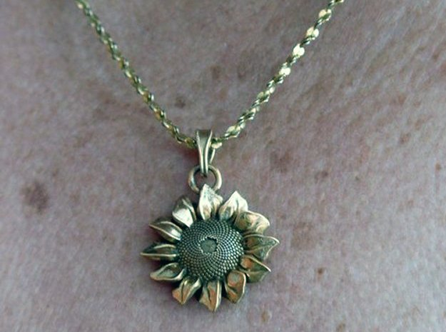 Sunflower Pendant in Polished Bronze (Interlocking Parts)