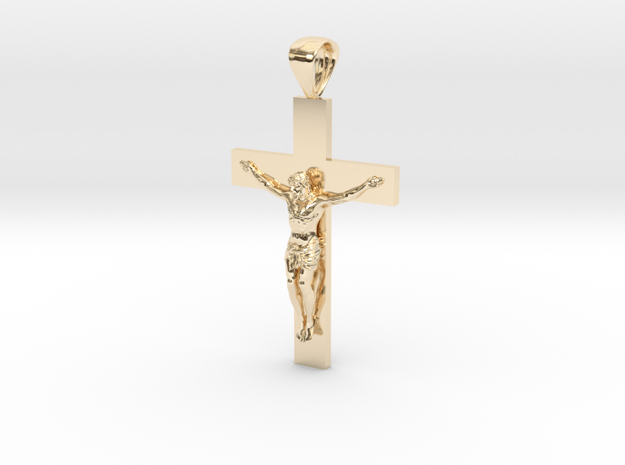 Crucifix Pendant in 14k Gold Plated Brass: Small