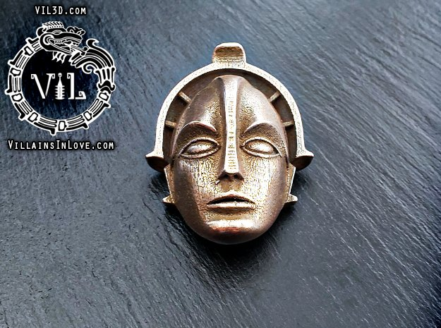 MARIA Metropolis Pendant ⛧ VIL ⛧ in Polished Bronzed-Silver Steel: Small