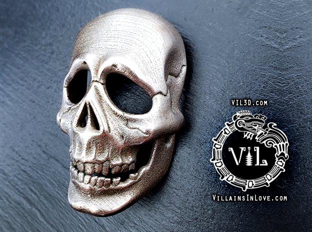 Halloween 3 SKULL Pendant ⛧VIL⛧ in Polished Bronzed-Silver Steel: Small