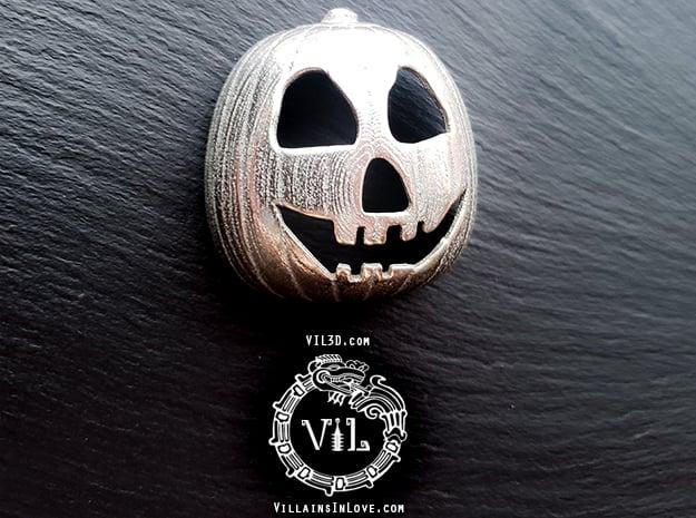 Halloween 2 PUMPKIN Pendant ⛧VIL⛧ in Polished Bronzed-Silver Steel