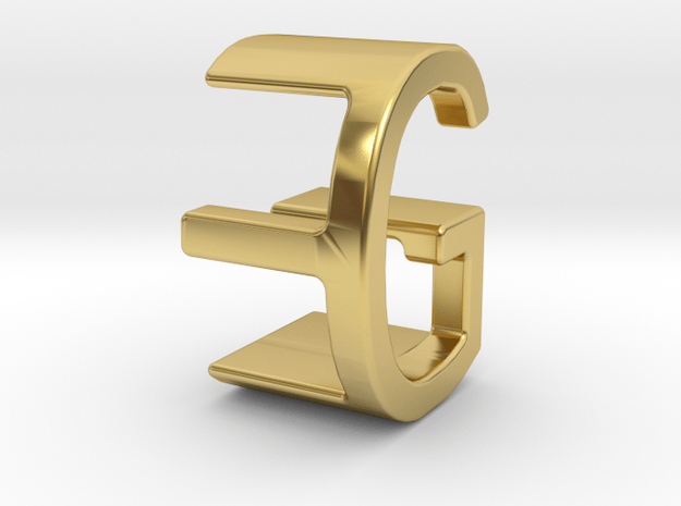Two way letter pendant - EG GE in Polished Brass