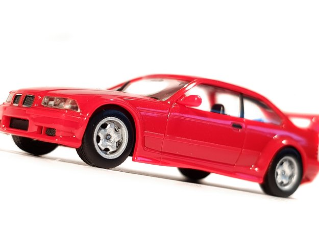 """1/87 BMW """"Styling 23 M"""" 17"""" Rim and Tire Set in Smooth Fine Detail Plastic"""
