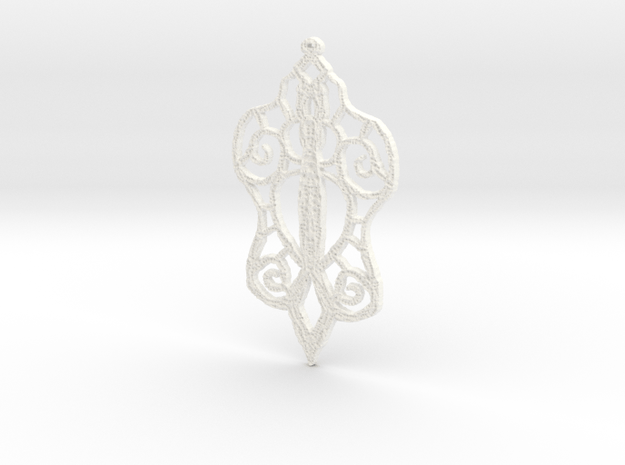 :Baby Lace: Pendant in White Processed Versatile Plastic