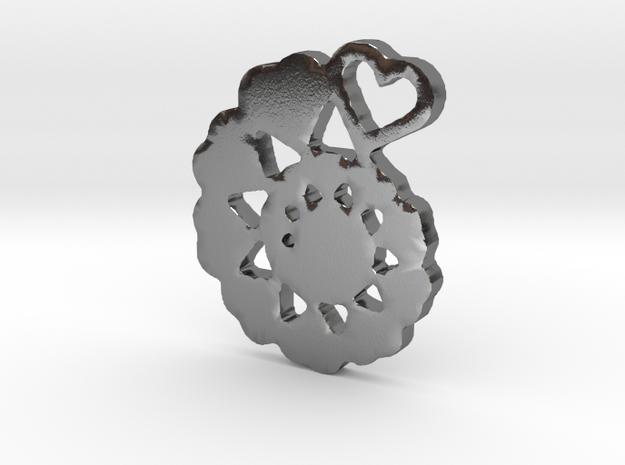 Heart Swirl Fractal Pendant in Polished Silver