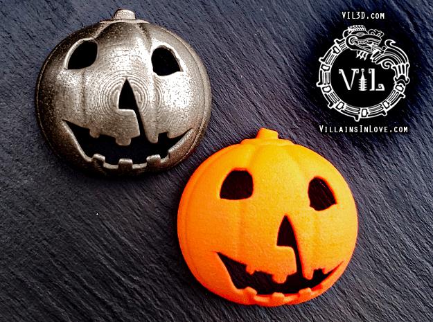 Halloween 1 PUMPKIN Pendant ⛧ VIL ⛧ in Polished Bronzed-Silver Steel