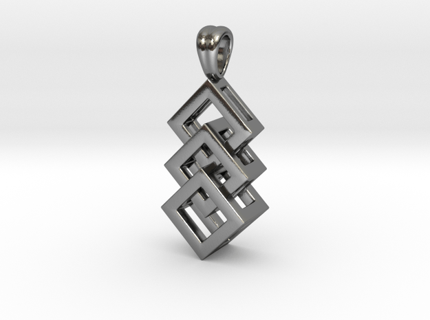 Linked cubes [pendant] in Polished Silver