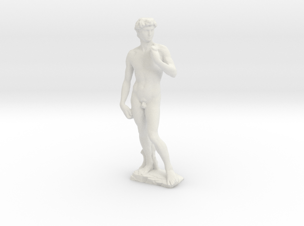 David by Michelangelo Miniature Statue in White Natural Versatile Plastic: 1:48 - O