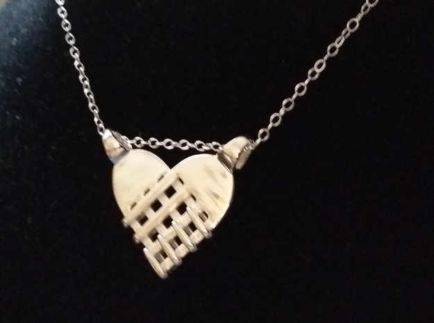 Fork's heart [pendant] in Polished Silver