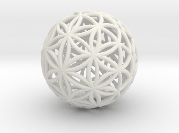 Special Edition 88mm Thick Flower Of Life in White Natural Versatile Plastic