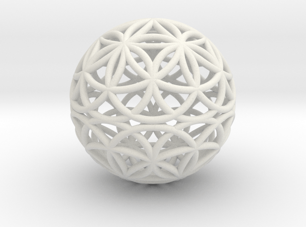 Special Edition 55mm Thick Flower Of Life in White Natural Versatile Plastic