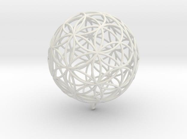 Pendant 150mm Flower Of Life in White Natural Versatile Plastic