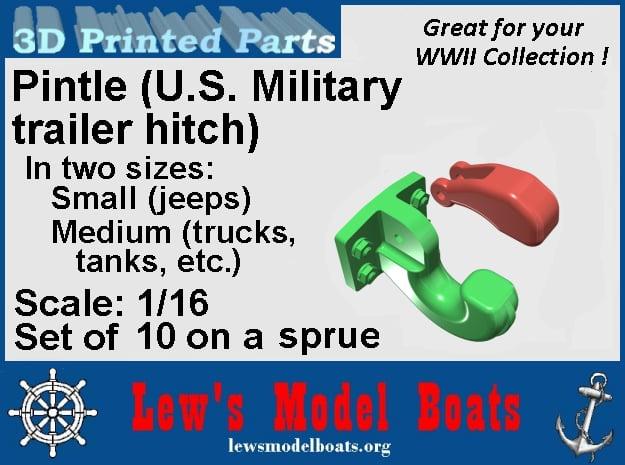 Pintle (U.S. Military Hitch) 1/16 scale in White Natural Versatile Plastic: Medium