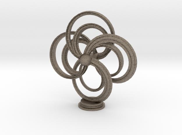 Turbine Sculpture in Matte Bronzed-Silver Steel