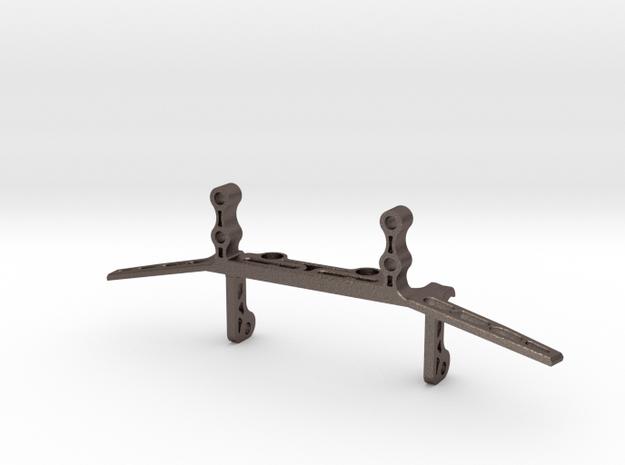 Metal Servo Mount with Link Brace V2 for Capra in Polished Bronzed-Silver Steel