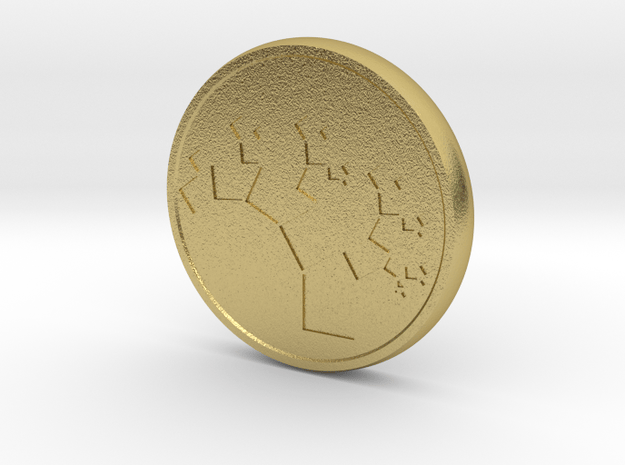 Pythagorean Tree Worry Coin in Natural Brass