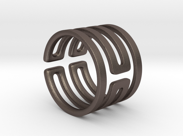 Uruk Ring Smooth - Size 6 in Polished Bronzed Silver Steel