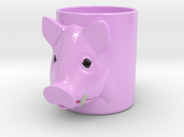 Pork Cofee Cup in Glossy Full Color Sandstone