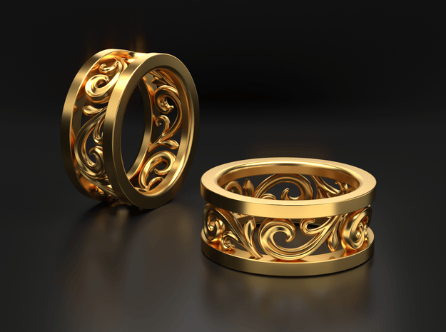 3D Open Scroll Ring in 14k Gold Plated Brass: 10 / 61.5