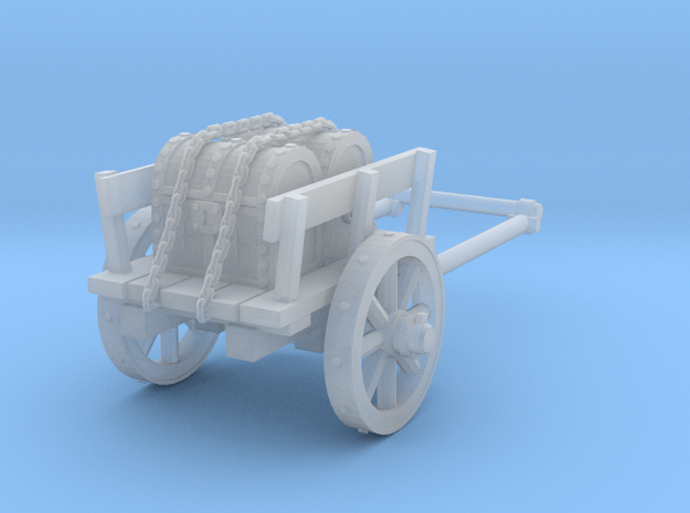 2-wheel cart with chests, 28mm in Smooth Fine Detail Plastic