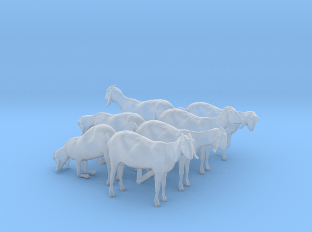 H0 - 1/87) scale Nubian goats - set of 7 in Smooth Fine Detail Plastic